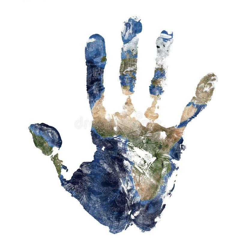 La impresión real de la mano combinó con un mapa de África de la tierra azul del planeta Elementos de esta imagen equipados por l ilustración del vector