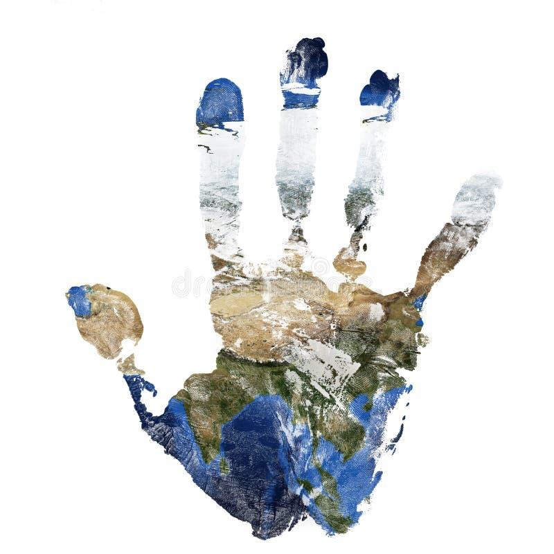 La impresión real de la mano combinó con un mapa de Asia de nuestra tierra azul del planeta Elementos de esta imagen equipados po imagen de archivo libre de regalías