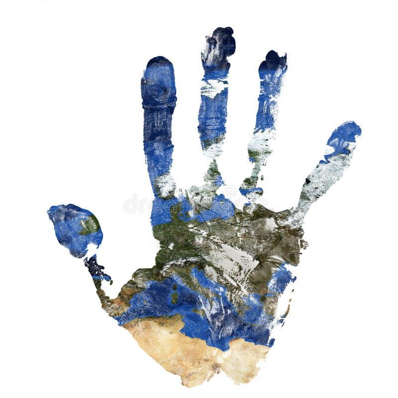 La impresión real de la mano combinó con un mapa de Europa de nuestra tierra azul del planeta Elementos de esta imagen equipados  imagen de archivo