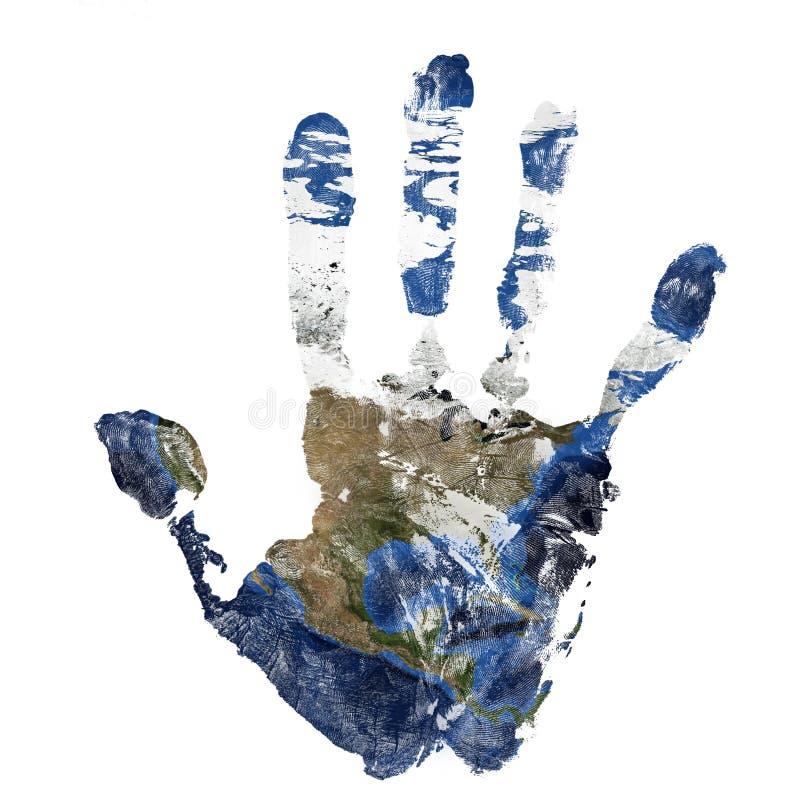 La impresión real de la mano combinó con un mapa de Norteamérica - de nuestra tierra azul del planeta Elementos de esta imagen eq imágenes de archivo libres de regalías