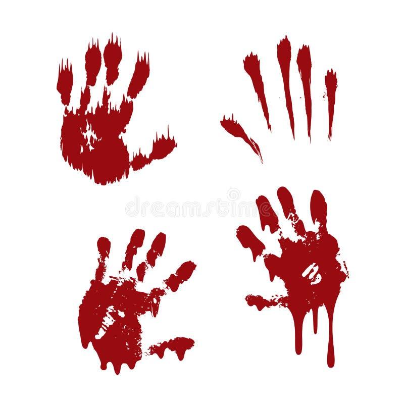 La impresi?n sangrienta de la mano fij? el fondo blanco aislado Handprint asustadizo de la sangre del horror, huella dactilar Pal ilustración del vector