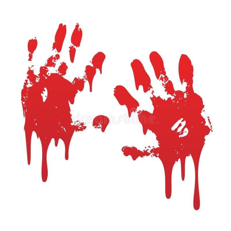 La impresi?n sangrienta de la mano fij? el fondo blanco aislado Handprint asustadizo de la sangre del horror, huella dactilar Pal stock de ilustración