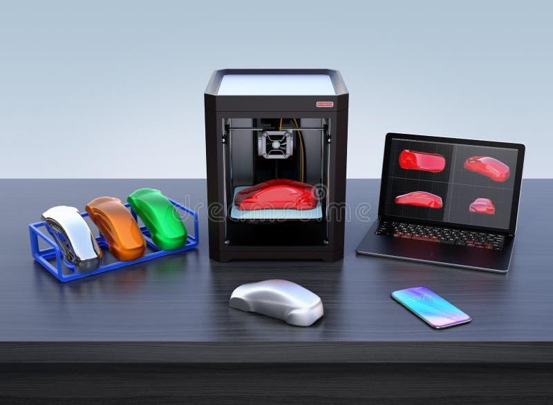 la impresora 3D, el ordenador portátil y el producto colorean muestras stock de ilustración