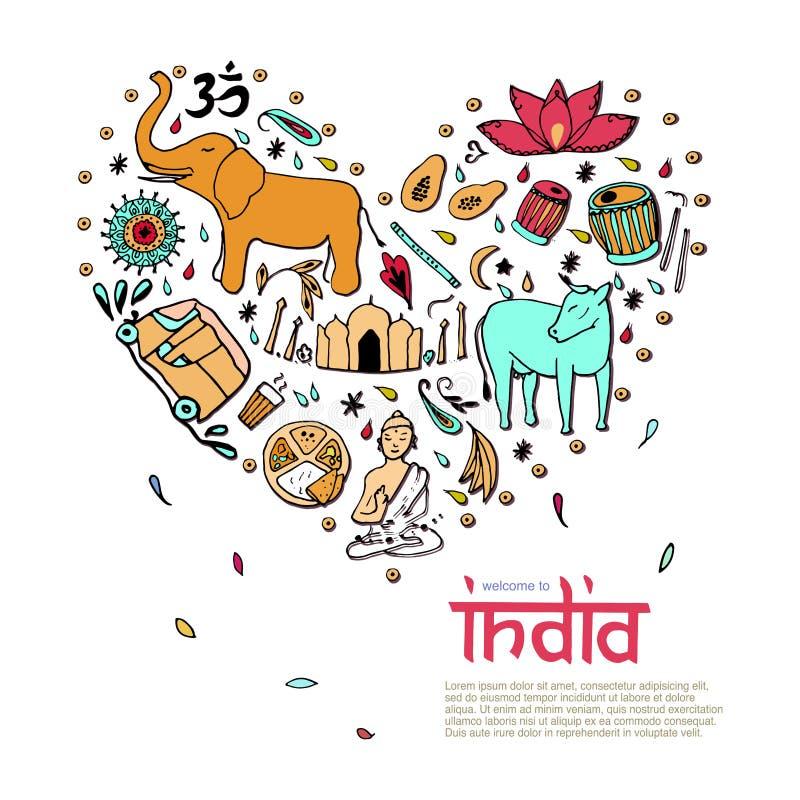 La India bajo la forma de corazón libre illustration