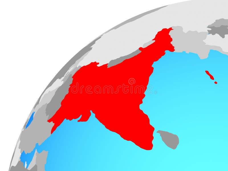 La India británica en el globo ilustración del vector