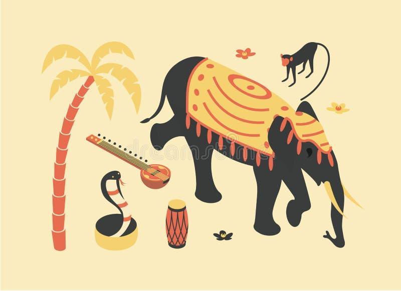 La India, ejemplo isométrico plano del vector, icono 3d fijado: palmera, sitar, mono, elefante, flor de loto, cobra de la serpien libre illustration