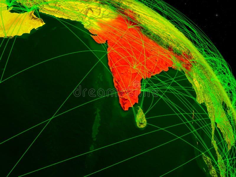 La India en el globo digital stock de ilustración