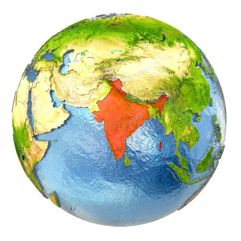 La India en rojo en la tierra llena libre illustration