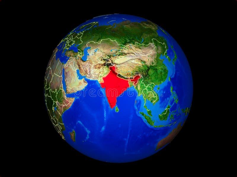 La India en la tierra del espacio ilustración del vector