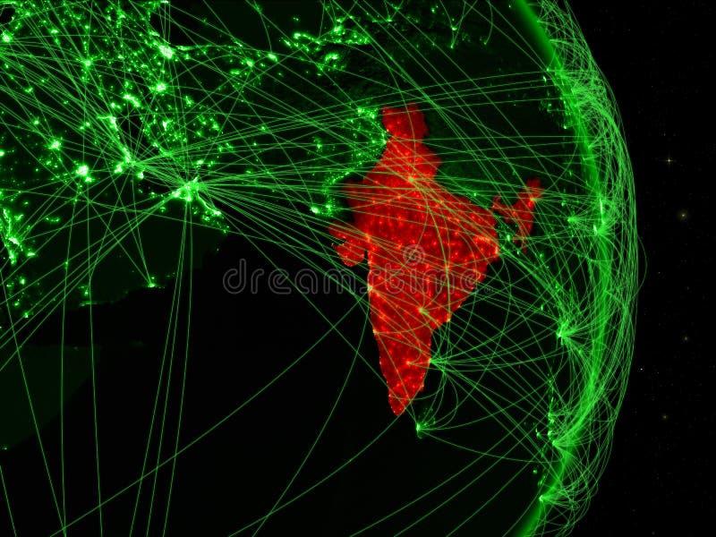 La India en la tierra verde stock de ilustración