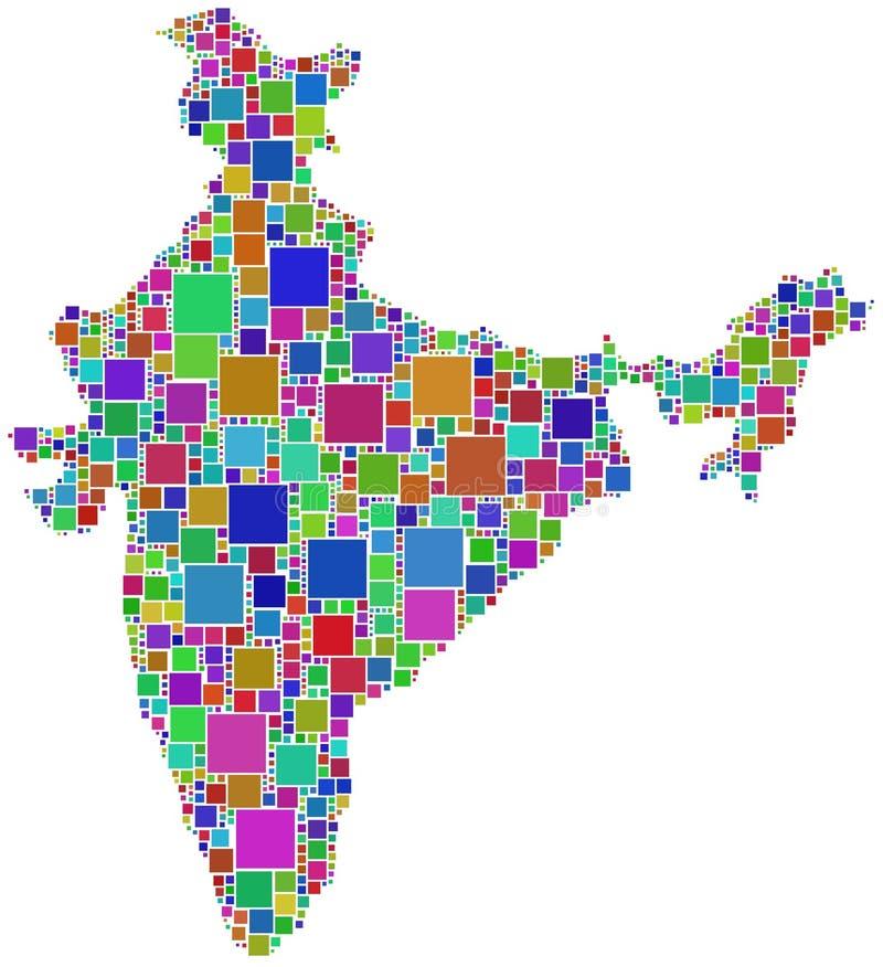 La India en un mosaico coloreado ilustración del vector