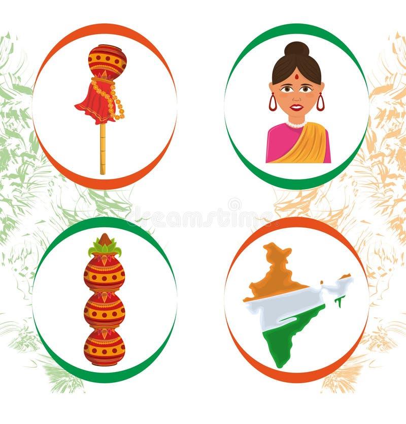 La India fijó de la colección patriótica de los iconos ilustración del vector
