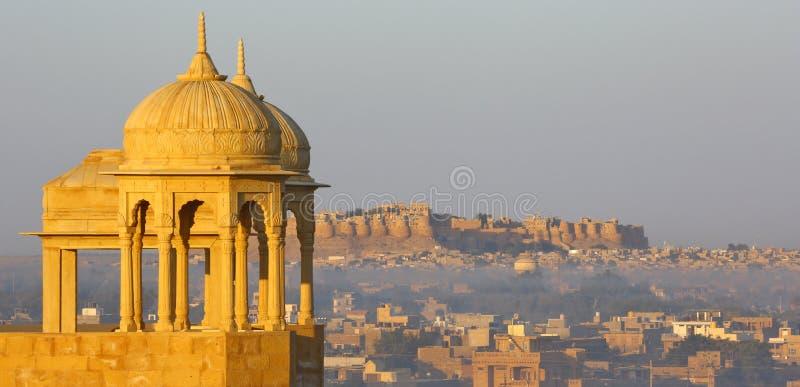 La India hermosa, panorama del castillo de Jaisalmer, Rajasthán imágenes de archivo libres de regalías