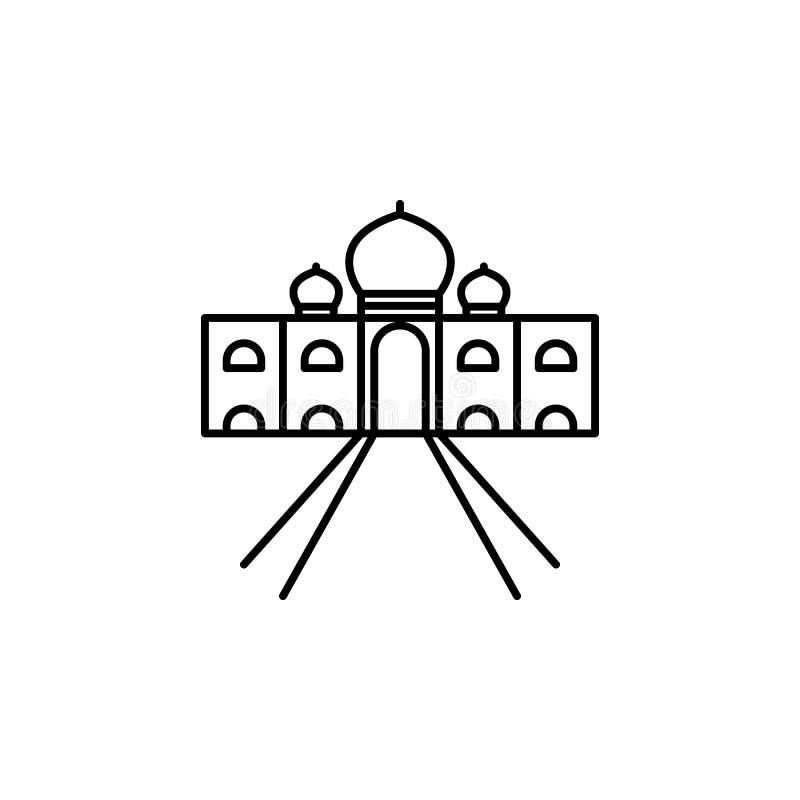 La India, icono de Taj Mahal Elemento del icono de la cultura de la India Línea fina icono para el diseño y el desarrollo, desarr ilustración del vector