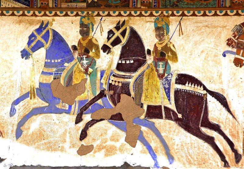 La India, Mandawa: frescos coloridos fotos de archivo libres de regalías