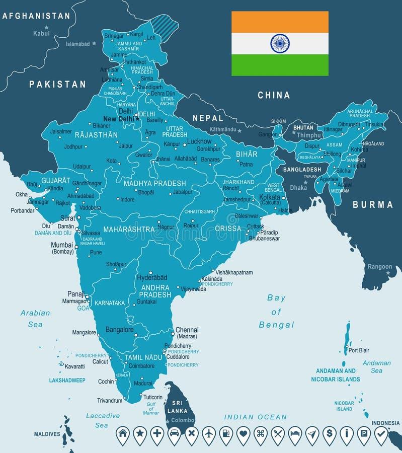 La India - mapa y bandera - ejemplo libre illustration