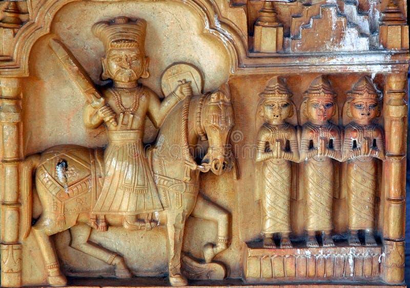 La India, Rajasthán, Jaisalmer: estatua foto de archivo
