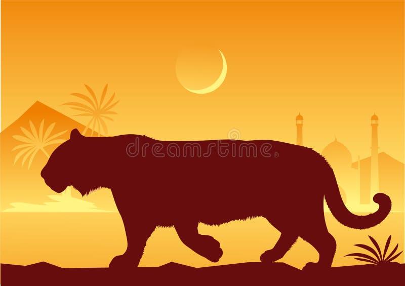 La India. Tigre stock de ilustración