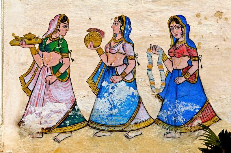 La India, Udaipur: fresco en una pared fotos de archivo libres de regalías