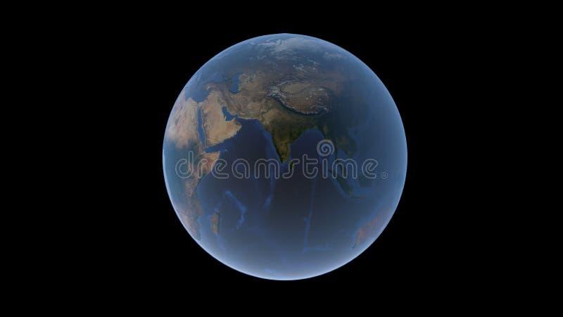 La India y el Océano Índico en el centro de la bola de la tierra, globo aislado en un fondo negro, representación 3D ilustración del vector