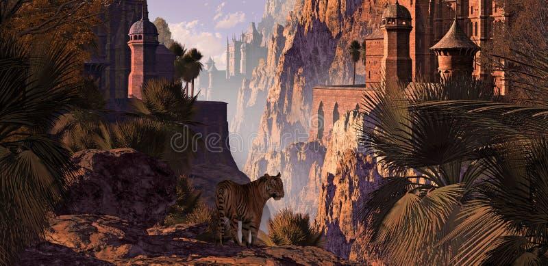 La India y el tigre stock de ilustración