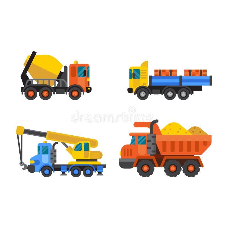 La industria del camión de volquete y de la grúa de construcción vector el ejemplo stock de ilustración