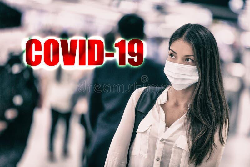 La infección por el virus del coronavirus Novel se propaga desde la ciudad de Wuhan, China Mujer asiática con rostro quirúrgico d fotos de archivo