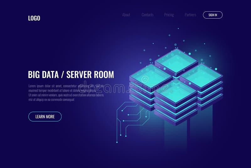 La informática grande, elemento de la tecnología digital, estante del sitio del servidor, nube que computa el icono isométrico, c stock de ilustración