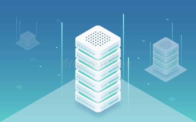 La informática grande, web hosting, estante del servidor, almacenamiento de datos, omputing y concepto de la información de proce stock de ilustración