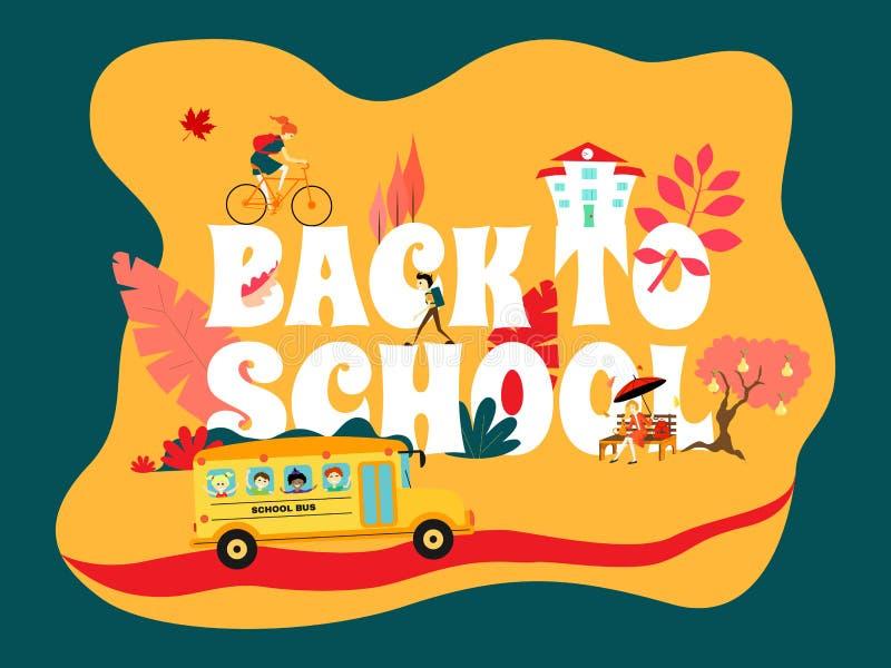 La inscripción 'de nuevo a escuela 'en amarillo y azul Los paseos del autobús escolar en el camino, la muchacha montan una bicicl libre illustration