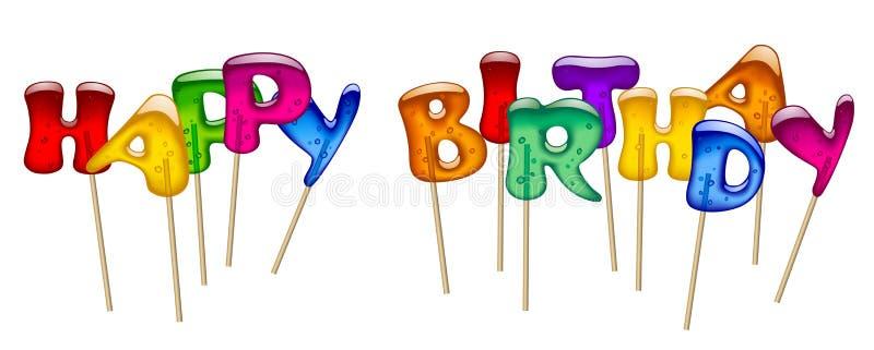 La inscripción del feliz cumpleaños con la piruleta dulce del caramelo letra la ISO libre illustration