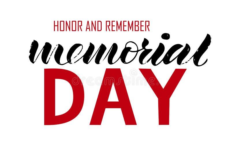 La inscripción del honor del Memorial Day del texto y recuerda stock de ilustración