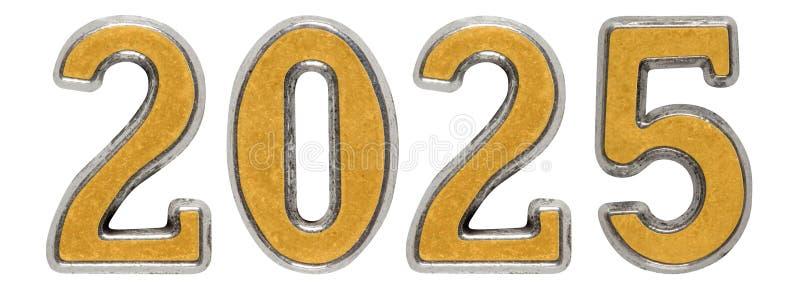 la inscripción 2025, en el fondo blanco, 3d rinde ilustración del vector