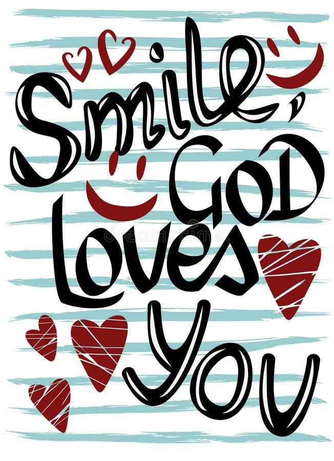 La inscripción en el fondo rayado, sonrisa, dios le ama ilustración del vector