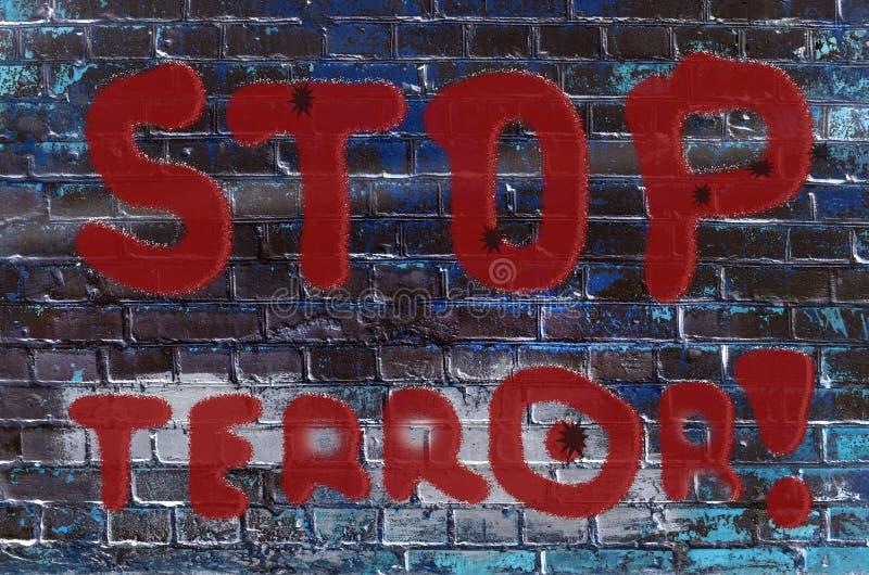 La inscripción en la pared de la pintada con el lema stock de ilustración