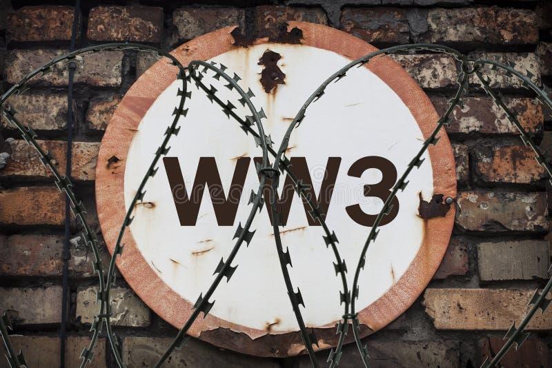 La inscripción en la muestra oxidada redonda de la guerra del Tercer mundo Cuidado del riesgo de la guerra libre illustration
