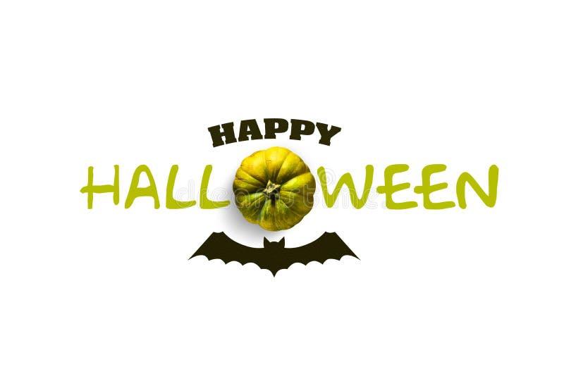 La inscripción es feliz Halloween Palo y calabaza de la silueta Fondo blanco Aislado ilustración del vector