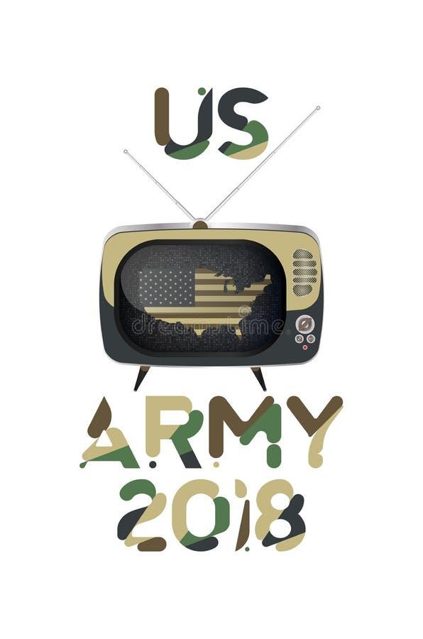 La inscripción original de la fuente del Ejército de los EE. UU. en camuflaje con los E.E.U.U. traza y TV vieja Ejemplo plano EPS ilustración del vector