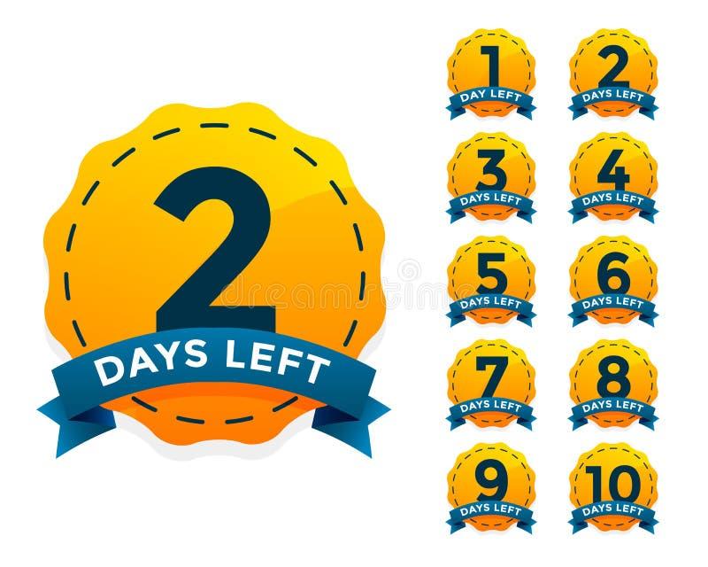 La insignia amarilla fijó para el número de días ido ilustración del vector