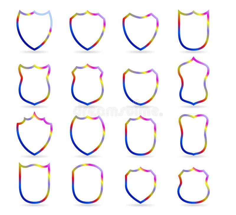 La insignia colorida remienda plantillas del esquema del vector Vector del club de deporte, militar o heráldico del escudo y del  ilustración del vector