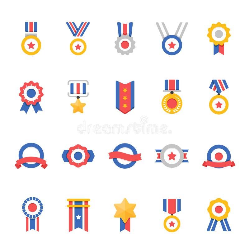 La insignia concede los iconos del movimiento del color fijados stock de ilustración