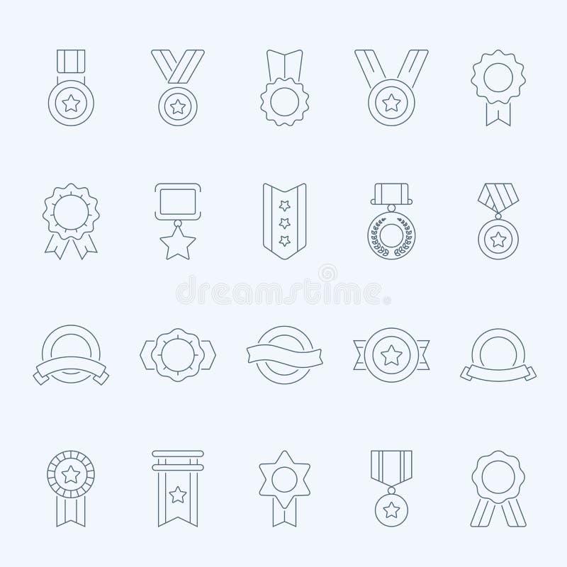 La insignia concede los iconos del movimiento del esquema del vector fijados stock de ilustración