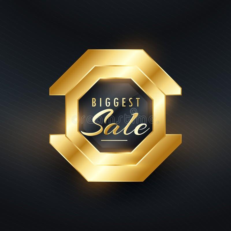 la insignia de la venta más grande y el vector de oro superiores de la etiqueta diseñan libre illustration