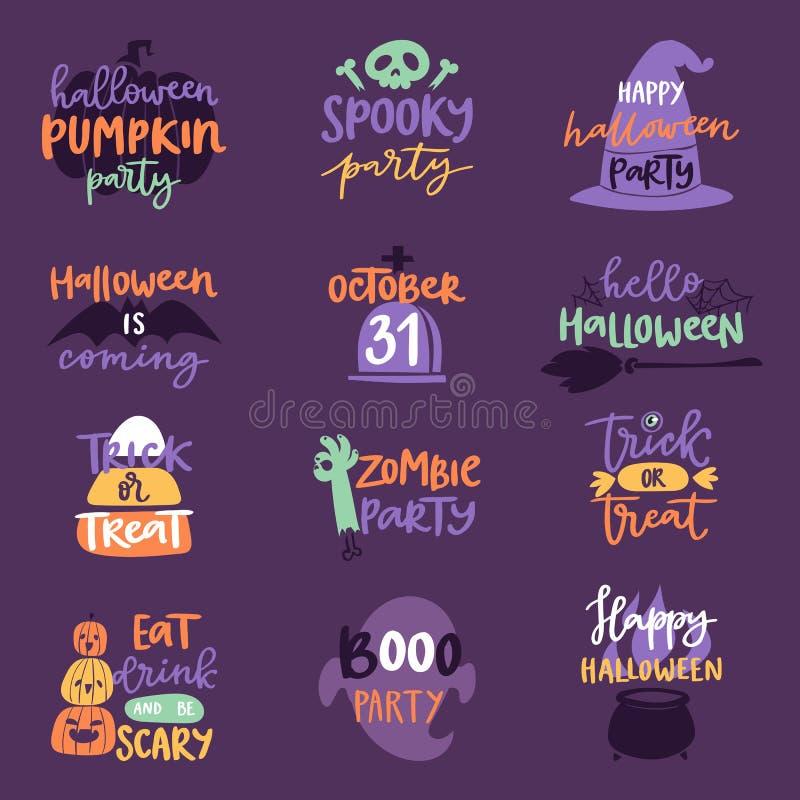 La insignia del texto del logotipo de la invitación de la celebración del día de Halloween expresa diseño determinado del ejemplo ilustración del vector