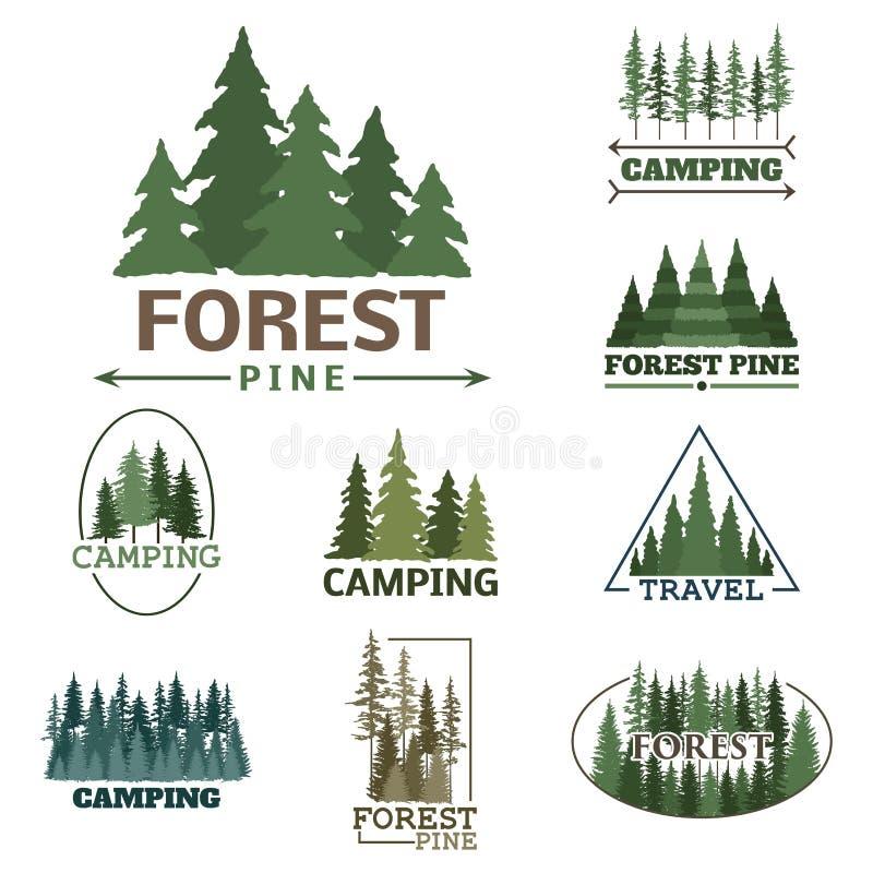 La insignia natural conífera del logotipo del viaje del árbol del verde de la silueta de la insignia al aire libre del bosque rem ilustración del vector