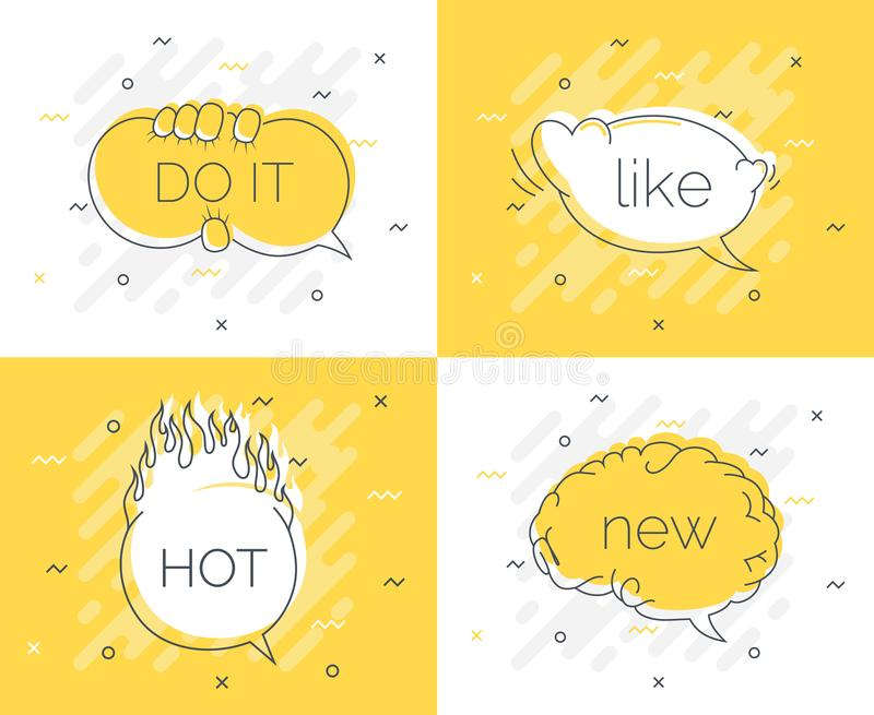 La insignia rápida de las extremidades con cerebro de la burbuja del discurso el nuevo, lo hace, como, caliente Vector plano de m libre illustration
