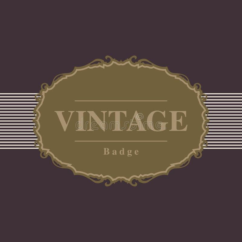 La insignia y la etiqueta retras del vintage diseñan la plantilla, ejemplo del vector stock de ilustración