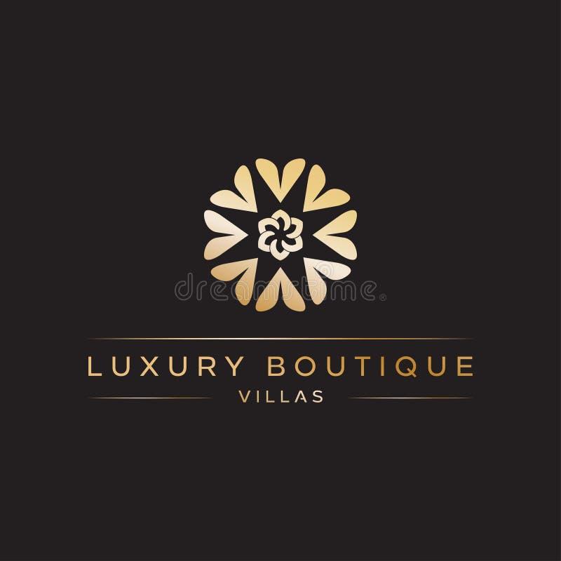 La inspiración de lujo del ejemplo del icono del vector del diseño del logotipo del boutique con amor giró la formación floral o  stock de ilustración