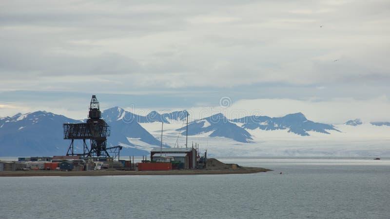 La instalación carbonífera en Longyearbyen, Svalbard foto de archivo libre de regalías