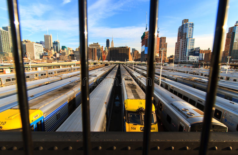La instalación de estacionamiento del tren de Nueva York imagen de archivo